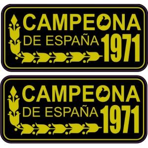 2x Pegatinas Campeona de España